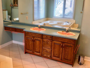 Oak Bathroom Cabinets, Countertop, Sinks and Faucets