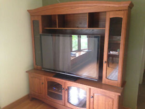 A set of Wooden TV Table and two closet