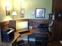 Computer Desk w/Hutch/Printer Table & Foot Rest