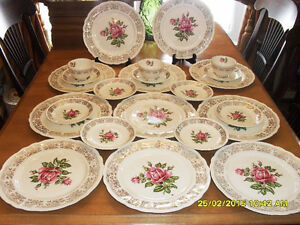 vaisselle or et rose & gold vintage dishes England #3169