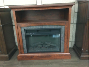 """Fantastic Deal for a 36"""" Light Brown Fireplace Media Console"""
