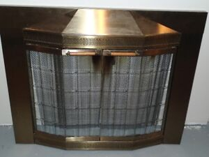Fireplace cover with Glass doors and steel mesh screen
