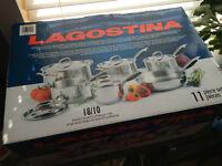 Lagostina 11 Piece Cookware Set, BRAND NEW
