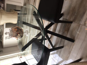 Glass table and 2 chairs - black.  Amazing condition
