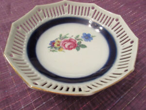 German Hand Painted Reticulated Porcelain Bowl - Very pretty