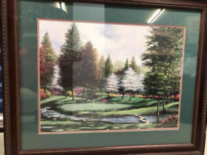 Wall Picture - Golf Scene - Wood Frame with Glass