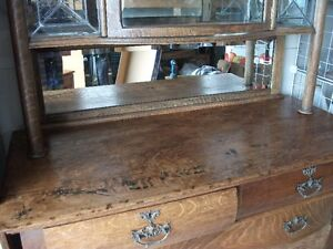 OLD OAK SIDEBOARD With LEADED GLASS Belleville Belleville Area image 8