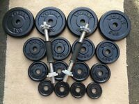 37kg CAST IRON WEIGHT PLATES AND A PAIR OF DUMBBELLS