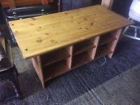 Pine coffee table with lots of storage spaces