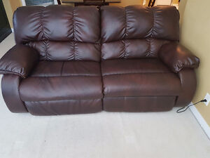 Leather electric reclining sofa