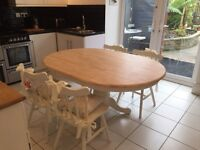 SHABBY CHIC FARMHOUSE DINING TABLE AND FOUR CHAIRS