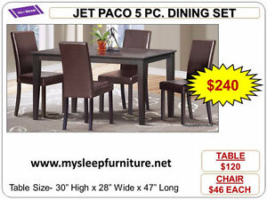 DINING SETS- BRAND NEW- WOOD, GLASS, MARBLE LOOK- WE DELIVER