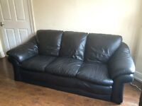 3 seater black leather sofa couch