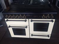 Black & cream rang master 110cm dual fuel cooker grill & double fan oven with guarantee