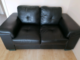 2 x 2 seater leatherette sofas