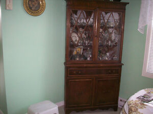 Antique Solid Oak Corner China Cabinet