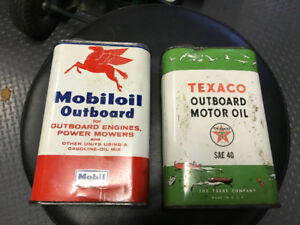 MOBILOIL & TEXACO OUTBOARD MOTOR OIL CANS 1 U.S. QUART EACH