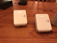 Pair of zyxel network mains plugs 100g