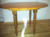 New Round Drop Leaf wooden table with 2 chairs