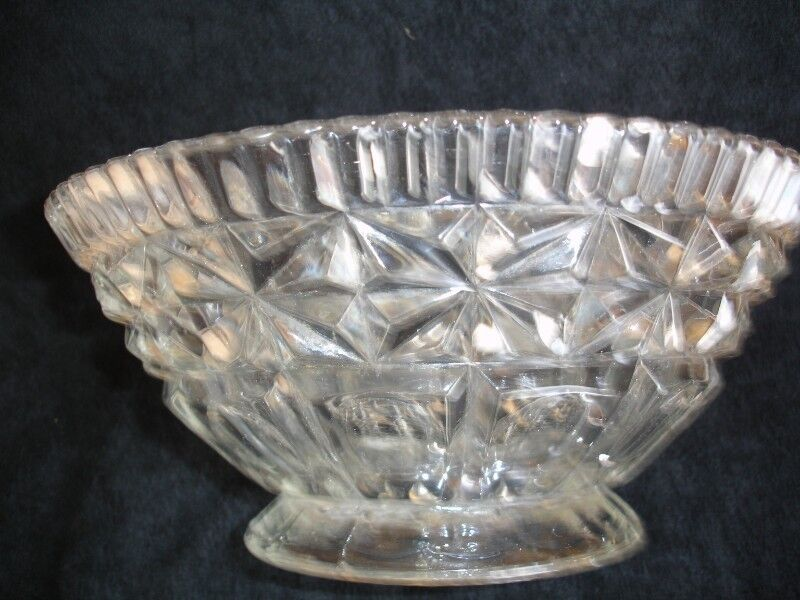 Art Deco Clear Glass  Bowl by Libochovice 1930's