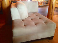 LUXURIOUS MICRO SUEDE SOFA/OTTOMAN (BEIGE) FOR SALE: