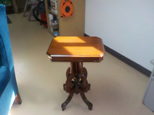Antique walnut accent table.