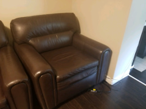 100% real leather sofa and chair set