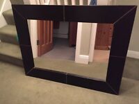 Large brown leather mirror for sale