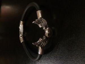 Hand Bracelet Silver925 Heart Wings Black Rubber by Bijoux