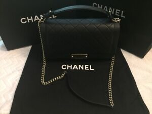 CHANEL Flap Bag Top Handle Black Silver Chain Leather Purse