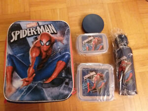 NEW: SPIDERMAN OR STAR WARS LUNCH BAG +4PCS LUNCH SET-$20 EACH