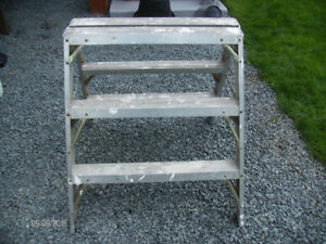 Used 3 Foot High Aluminum Ladder / Sawhorse