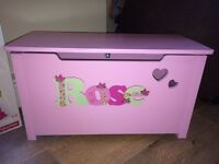 Homemade Personalised Pink Toy Box with Pretty Hearts Cut out. Girls Christmas / Birthday Present