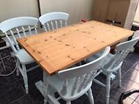 Shabby chic farmhouse table and four chairs