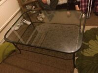 Large metal and glass coffee table