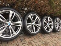 "Genuine BMW 3 4 Series 19"" 442 M Sport Alloy Wheels & Tyres F30 F31 F32 F33 F34 F36 E90 E92 Z4 grey"