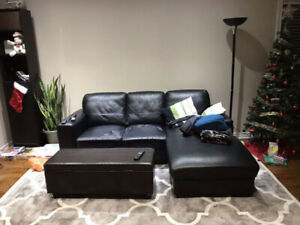 Structube Leather Sofa Couch