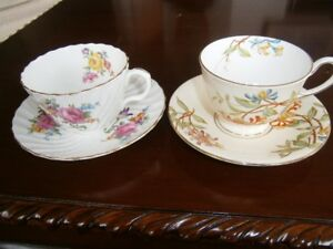 TWO BEAUTIFUL AYNSLEY CUP AND SAUCER SETS