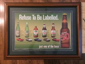 Labatts 50 beer/car framed advertising bar man cave vintage