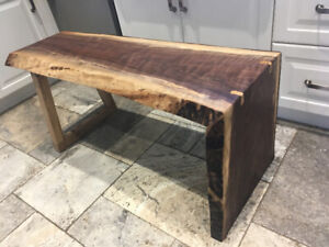 Waterfall live edge walnut bench or coffee table