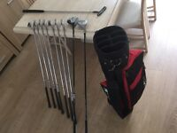 Golf clubs full set of Ryder irons, stand bag, driver, 5 wood & putter. Vgc