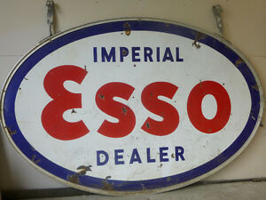 Vintage double sided porcelain Esso sign