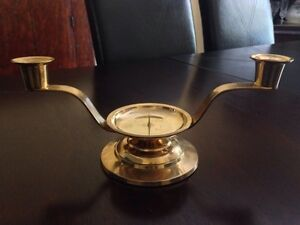 Wedding Unity Candle Holder, Antique Brass