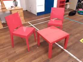 Red chair & table set