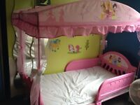 Princess toddler canopy bed, barely used!