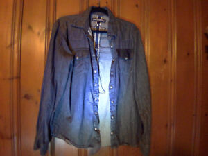 Rocker Dress Shirt with leather cross on back. Size L. *NEW*
