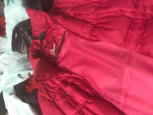 Ladies clothing, name brand, guess, silver, etc. coats, boots.