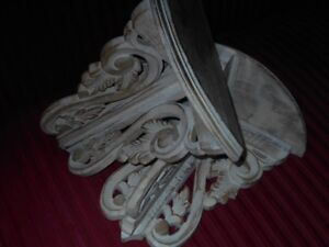 Shabby Chic White Distressed  Carved Shelves