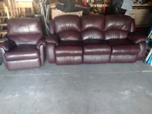 Leather Reclining Couch and Rocking Recling Chair Set