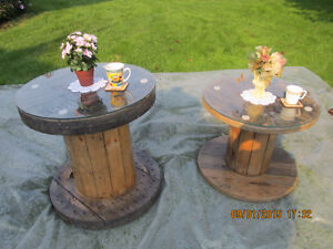 For Sale: Beautiful varnished wood cable spool coffee tables